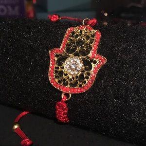 Jewelry - Gold Hamsa Hand Red String Karbbalah Bracelet -New